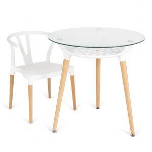 mesa de cristal redonda