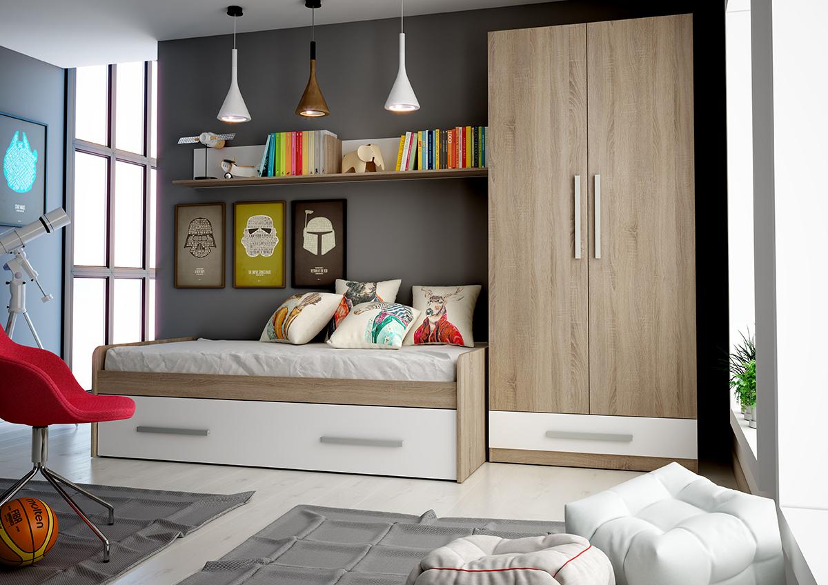 Dormitorio juvenil colores cambrian blanco muebles ab - Vitrinas merkamueble ...