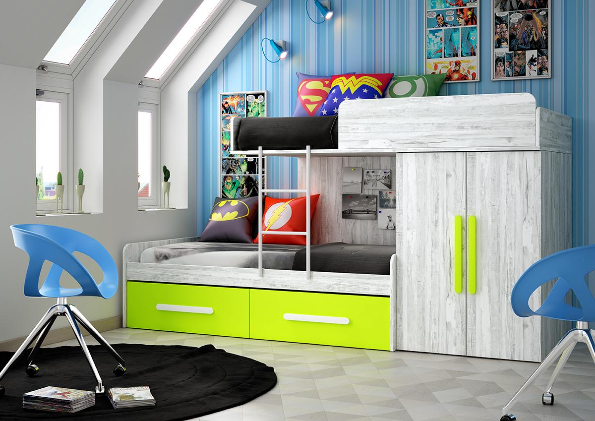 Dormitorio juvenil cama tren colores artic y kiwi muebles ab for Dormitorio juvenil tren
