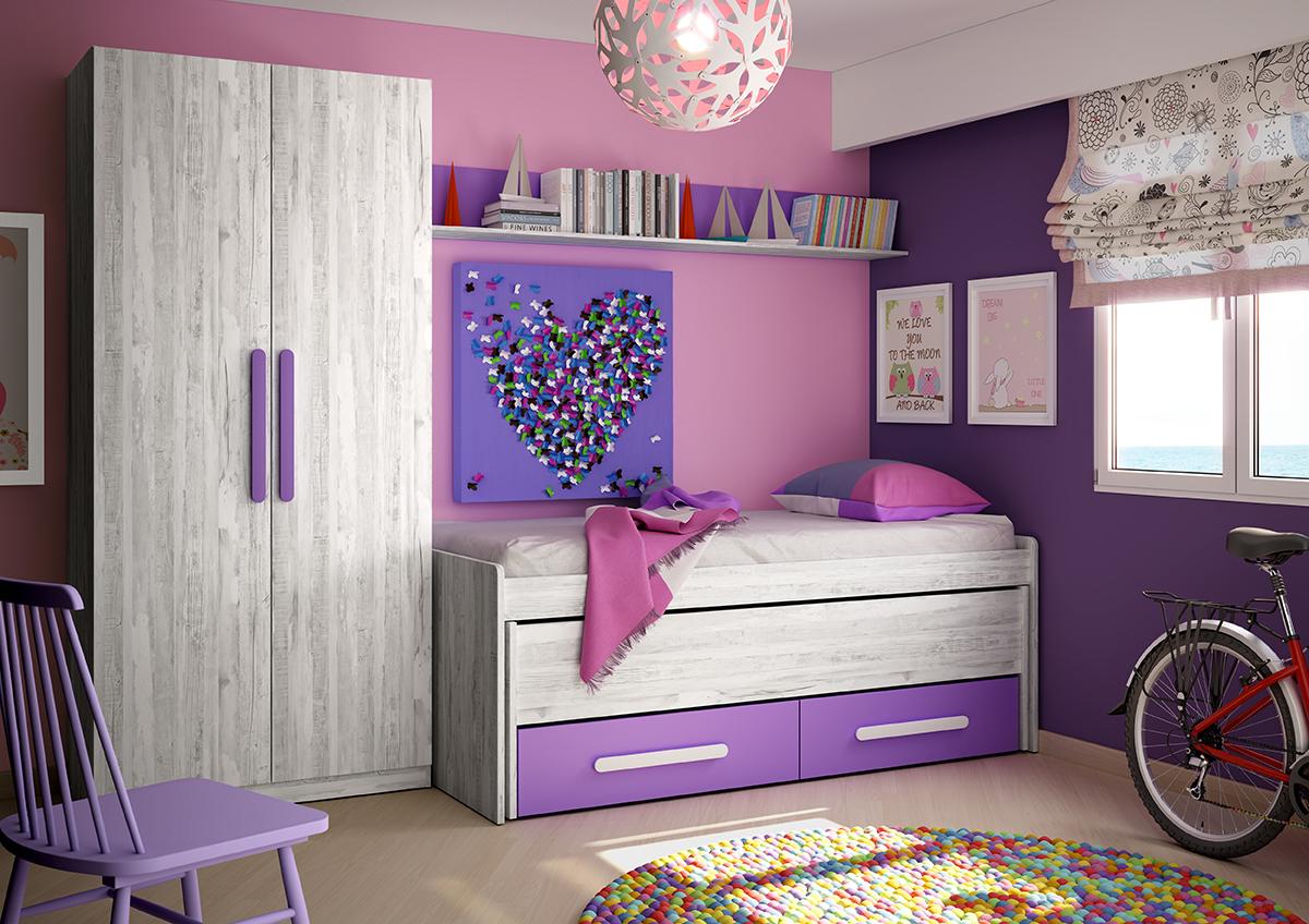 Dormitorio Juvenil Color Artic Morado Muebles Ab # Muebles Pumarin Armarios