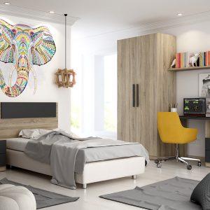 habitación juvenil color grafito