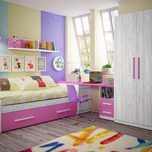 dormitorio infantil con colores artic y fucsia