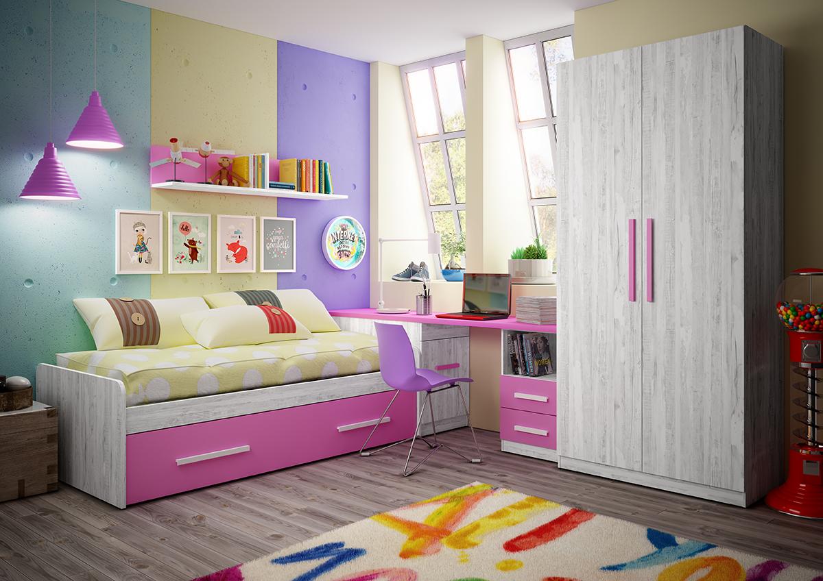 Dormitorio Juvenil Colores Artic Y Fucsia Muebles Ab # Muebles Color Fucsia