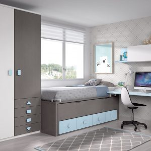 habitación juvenil con cama oculta