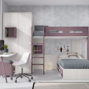 habitación juvenil con litera bicolor