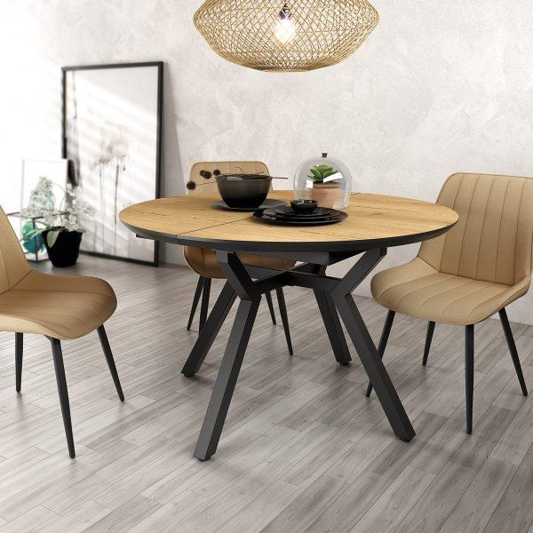 mesa estilo cantabrico redonda y extensible