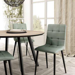 silla con asiento tapizado