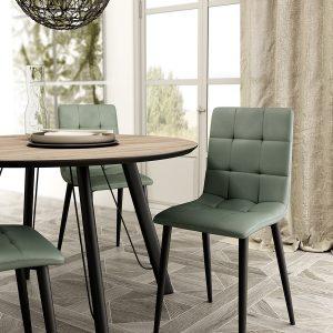 sillas tapizadas en distintas combinaciones